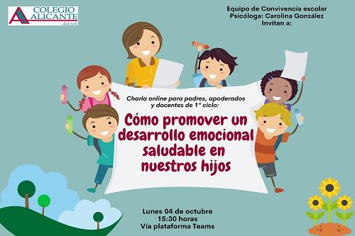 """Invitación Charla: """"¿Cómo promover el desarrollo emocional en nuestros hijos?"""""""